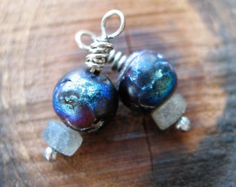 Rough Mystic Coated Garnet and Matte Labradorite Bead Charms - 22mm in length - 1 Pair