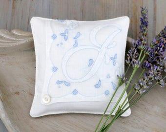 Vintage Blue and White Hankie Sachet, Lavender Drawer Sachet, Monogram Letter J