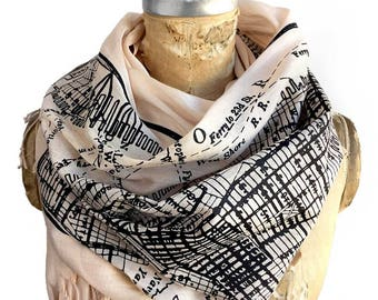 New York City Map Scarf. Vintage NYC map fringed scarf. Gift for New Yorker. Manhattan, Brooklyn, Jersey City. Luxe Weight Pashmina