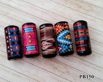 Indian Patterns Beads -  Handmade Paper Tube Beads - - Set/5 -  PB150