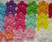 SALE PRICE - 30 Pcs Assorted Color Small Crocheted Flowers Applique Embellishment