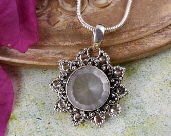 Rose quartz sterling silver pendant/necklace