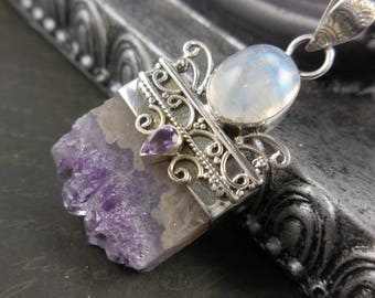 Amethyst quart stalacite & moonstone sterling silver pendant/necklace