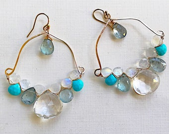 Quartz, Moonstone, Turquoise, and Aquamarine Woven Earrings