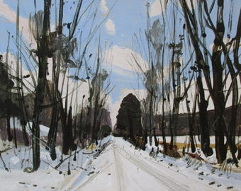 Snow Day, Home Gate, Original Lanscape Painting on Card, 8 x 10 Inches, Stooshinoff