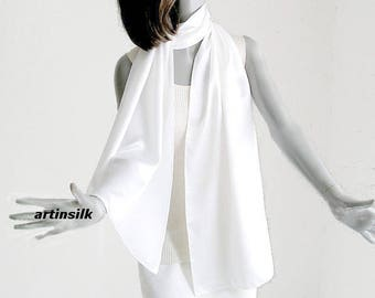 White Scarf Wrap 100% Silk Charmeuse Finely Hand Hemmed  Evening Wedding Bridal, Made to Order, Artinsilk.