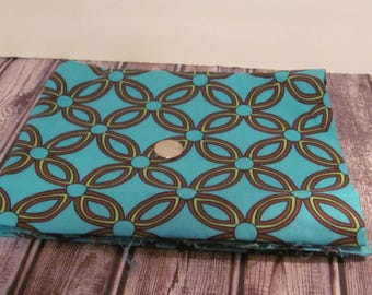 Turquoise, Brown and Green Floral Print Fabric
