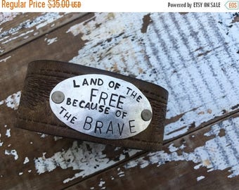 MEMORIAL DAY SALE- Men's Stamped Leather Cuff-Freedom-Word Cuff-Personal Gift