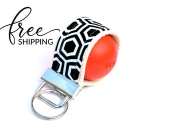 LippyLoop™ EOS Holder Keychain, Black and White Hexagons | Free Shipping
