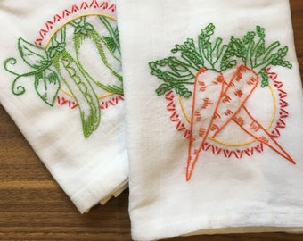 Peas and Carrots Hand-embroidered Dish Towels