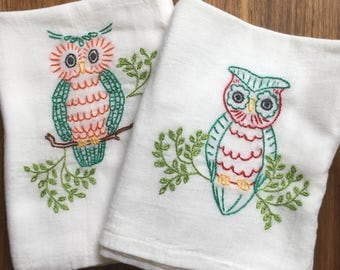 Hoot! Hand Embroidered Dish Towels