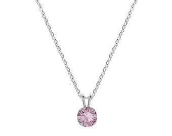 Swarovski Crystal Solitaire Necklace Sterling Silver Pendant Antique Pink or CHOICE OF COLOUR