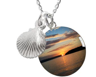 Balmoral Beach Sunrise and Sea Shell Sterling Silver Meniscus Necklace