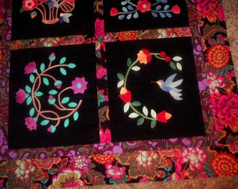 Beautiful Colorful Applique Quilt Top to Finish 39 x41 inches