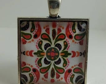 Italian Tile Glass Cabochon Pendant