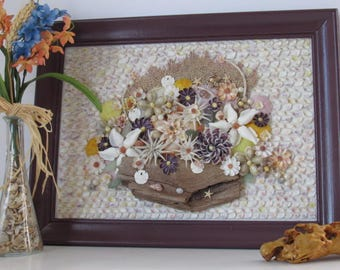 Driftwood and Seashell Wall Decor, Framed Seashell Flowers, Sailor's Valentine Style Picture, Beach Home Decor, Island Housewarming Gift
