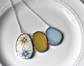 Cluster Broken China and Stained Glass Jewelry Necklace  - Blue Yellow Atomic Starburst