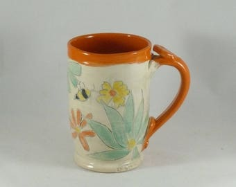 Large Pottery Mug, Save the Bees, holds 18 ounces,  Large Coffee Cup, Tea mug, teacup, Tankard Stein, Pencil holder, Gifts for him 896