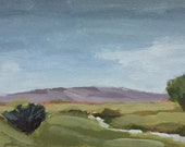 ORIGINAL landscape painting 6x12 on wood panel green landscape rural landscape small landscape green pamela munger