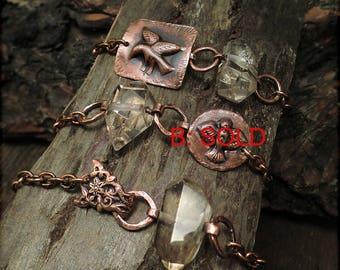 B1532 Copper Badge Bird or Flower chunky bracelet with Smoky Quartz Rock Crystal