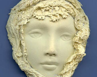 Polymer Clay One of a Kind Ivory Face with Fabric  Cab FFI  1