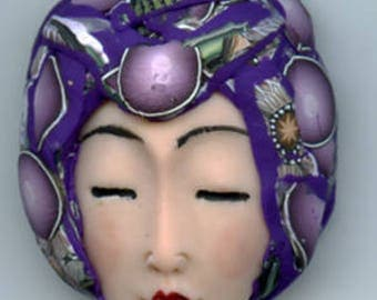 Polymer Clay OOAK   Detailed Asian  Art Doll Face with Faux Fabric Clay  hat Cab  ASN 3
