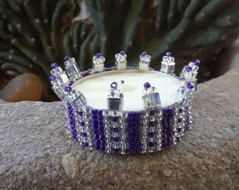 Beaded Crystal Trim Tea Light Candle Cover for Altar Prayer Meditation Gift