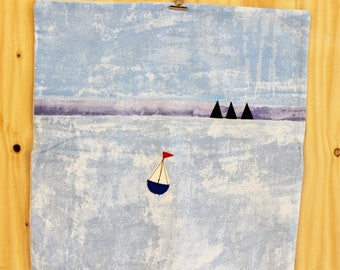 Cushion cover with sailing boat applique, large, SALE