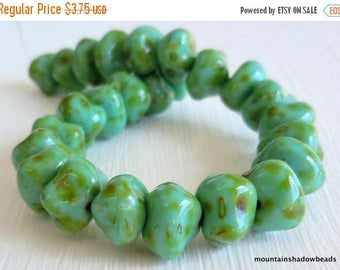50% OFF Clearance Premium Czech Beads - Turquoise Picasso 8mm Nugget Bead - Czech Glass Beads 25 pcs (G - 388)