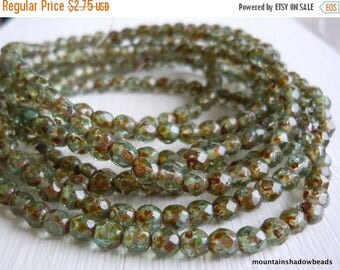 20% Summer SALE 4mm Czech Beads - Aqua Picasso Firepolished Faceted 50 pcs (G - 242)
