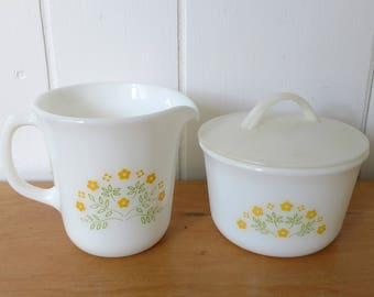 vintage Pyrex summer impressions cream and sugar in yellow