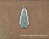 Antiqued Sterling Silver Plated Victorian Earring or Pendant Jewelry Drop (item 2810 AS) - 12 Pieces