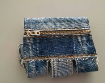 Denim Cuff with Zippered Pocket ecofriendly recycled jeans upcycled repurposed Wrist Wallet