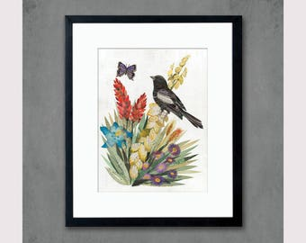 Lark Bunting with Wildflowers Art Print