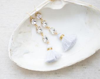 Bridal Crystal Earrings, Crystal Chandelier Earrings, Tassel Earrings, Long Tassel earrings, Bridesmaids Crystal Earrings, Long Crystal