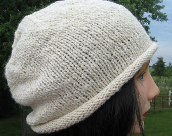 Alpaca Wool Hat - White Slouchy, Hand Knit Beanie - Slouch for Women. Men and Teens