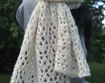 Knit Scarf, Handmade Alpaca Scarf, Women's Lace Scarf, White Winter Scarf, Great Present for Moms and Grandmothers