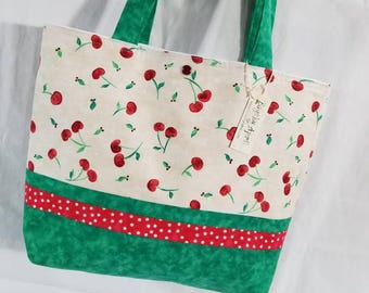 Red Spring Cherries Cherry Dots fabric purse tote bag