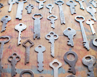 Antique Flat Key Lot - 37 Padlock Keys - Instant Collection
