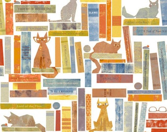 Smarty Cats and Pun Books White Windham Woven Cotton fabric