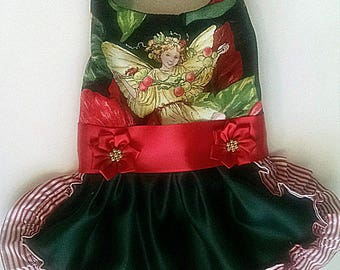 dog clothes Christmas Dog Dress with fairies  for a yorkie chihuahua pug or any small dog tiny teacup clothes