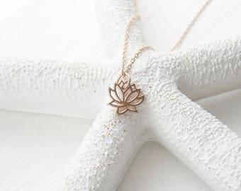 Rose gold vermeil lotus flower necklace - dainty necklace - rose gold pendant