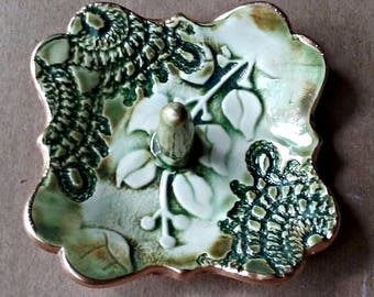 Ceramic Ring Holder Moss Green  3 inches wide edged in gold lace and vine