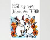 Mother's day bunny card Cute bunny card for mum Mother and baby rabbit card First my mum forever my friend Gift for mum  Blank Inside