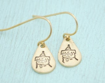 ON SALE Party PUG dangle earrings - Gemma Correll sterling silver 14kt gold vermeil hooks handmade artisan made handcrafted by Chocolate and
