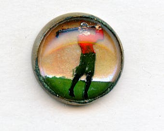 "Vintage GOLFER Button Reverse Molded Painted in Brass Metal 9/16"" 3906"