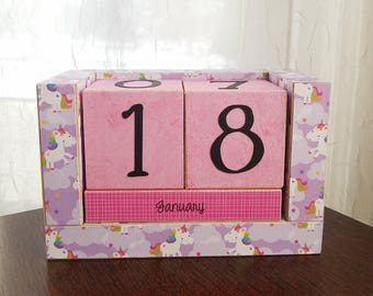 Handmade Perpetual Wooden Block Calendar - Happy Prancing Unicorns - Fairy Tale - Purple Pink Blue Magic Unicorn - Rainbows and Clouds