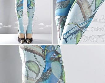 ON SALE/// Tattoo Tights, Paradise light blue Open Toe and Heel one size full length printed tights, pantyhose, nylons, tattoo socks