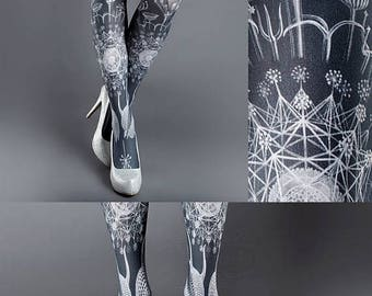 30%off/endsJUL23/ Tattoo Tights, Marine Life Tights white Closed Toe one size full length printed tights, pantyhose, nylons, tattoo socks