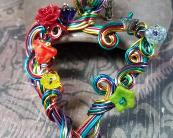 Rainbow Heart Wire Wrapped Pendant